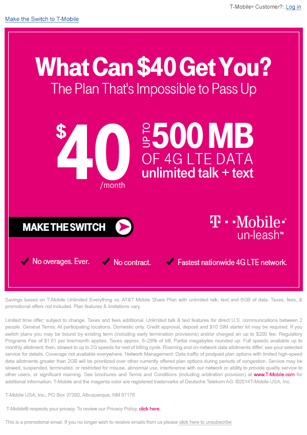 T-Mobile The Perfect Plan Email Campaign - Template Design By Heidy Gomez