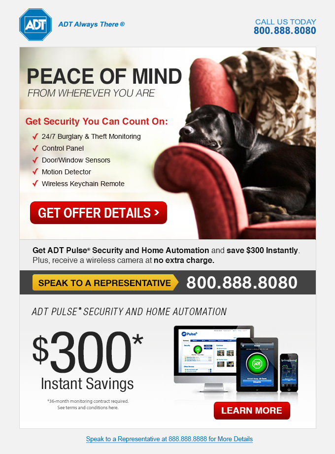 ADT Pulse Home Security Email Creative - Template Design By Heidy Gomez