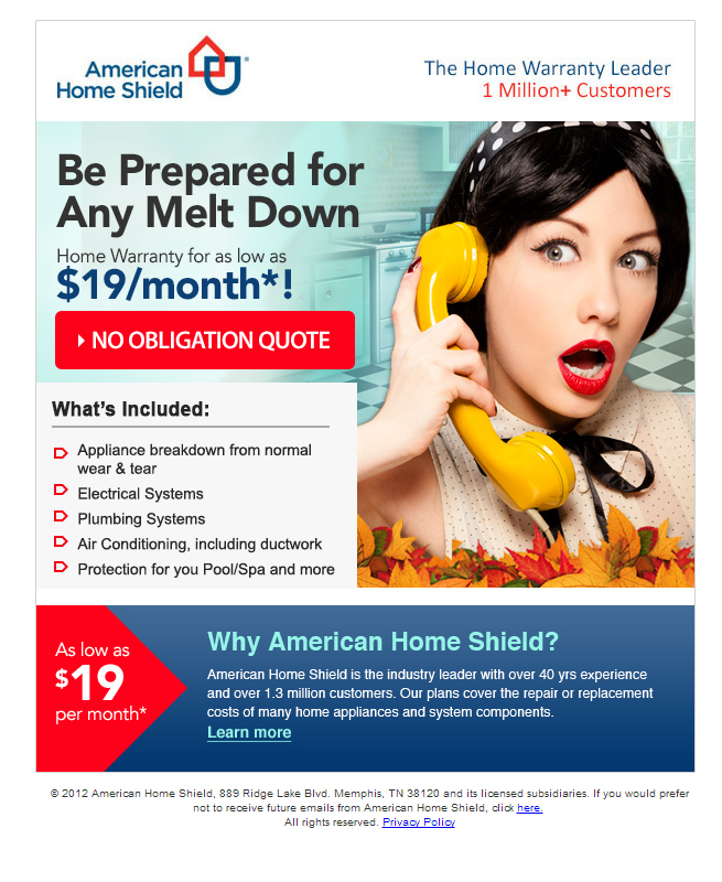 Worry Less American Home Shield Email Campaign - Template Design By Heidy Gomez