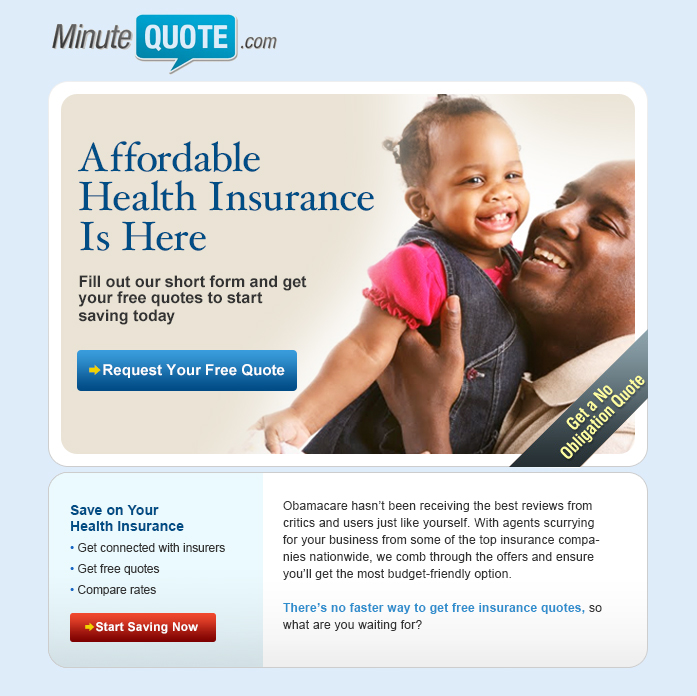Minute Quote Better than Obamacare Email Campaign - Template Design By Courtney Villanova