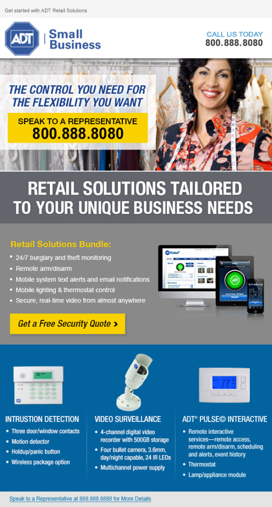 ADT Retail Solutions Small Business Security Email Creative - Template Design By Heidy Gomez
