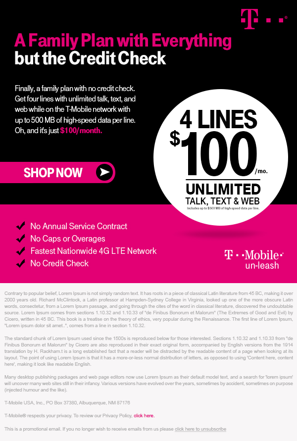 T-Mobile Family Plan Email Creative - Template Design By Heidy Gomez