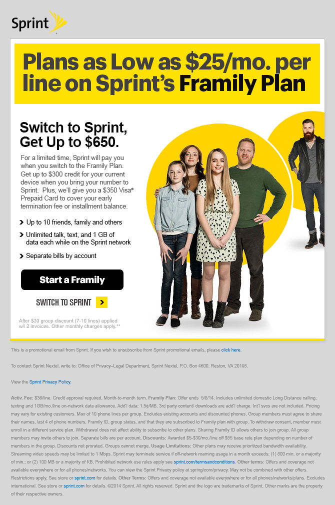 No Better Time to Switch Sprint Email Campaign - Template Design By Heidy Gomez