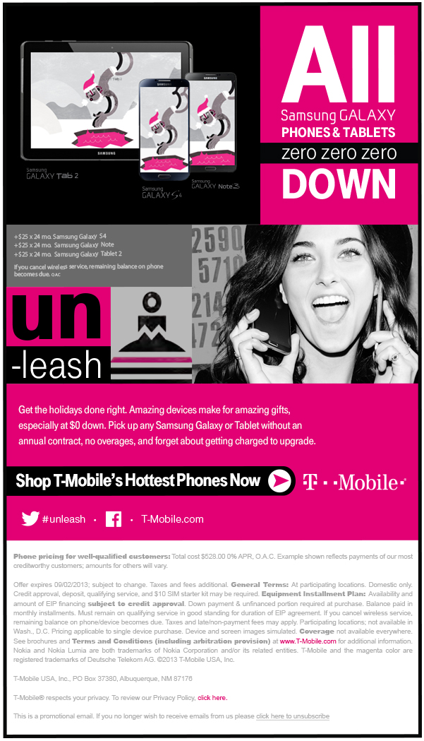 T -Mobile Holiday $0 Down Email Creative - Template Design By Heidy Gomez