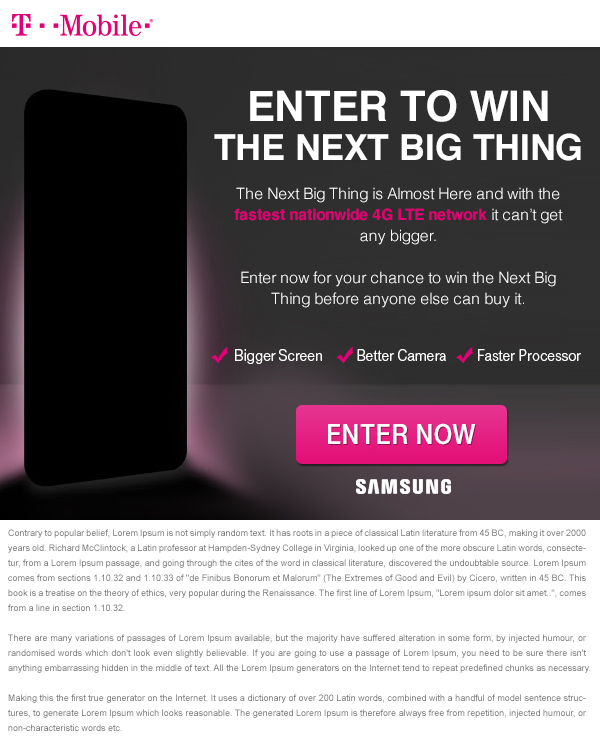 T -Mobile Dark Device Email Creative 2 - Template Design By Heidy Gomez